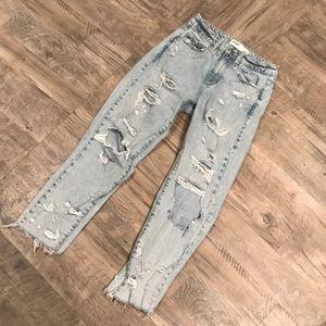 Ladies Garage Mom Fit Distressed Jean